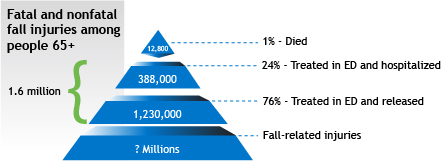fatal and nonfatal fall injuries among people 65+