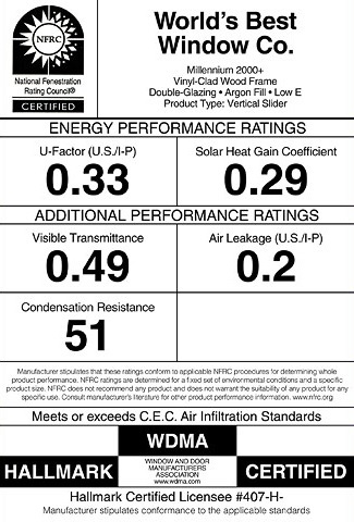 National Fenestration Rating Council NFRC label