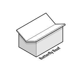 illustration of a house with a butterfly roof