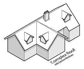 illustration of a house with a complex roof